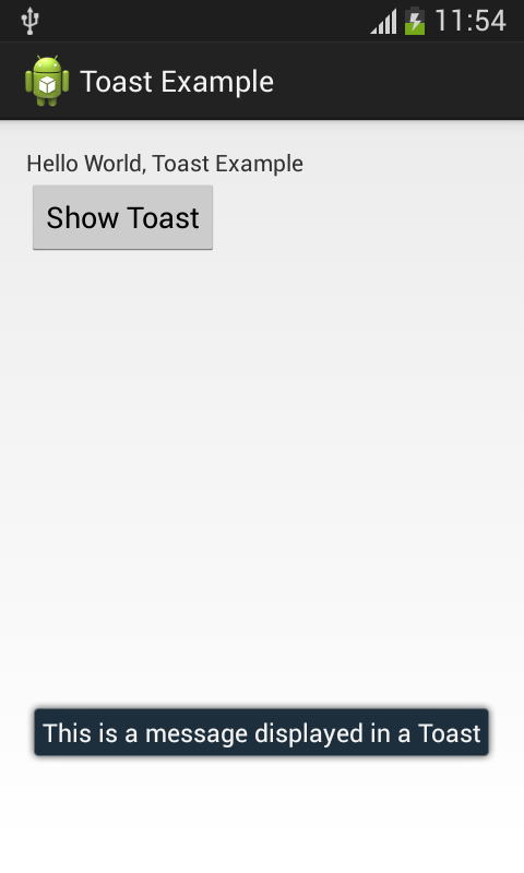 A screenshot of a Toast displayed on an Android device.