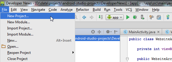 New project in Android Studio