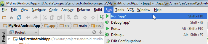 Running the Android app via the Run menu.