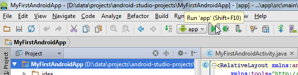 Running the Android app via the toolbar.