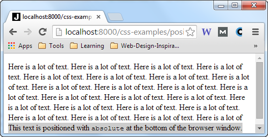A div element with position:absolute inside a page with more text, with the browser resized