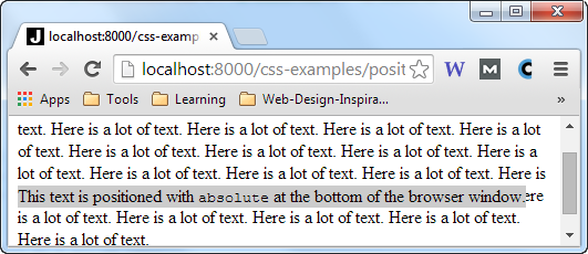 A div element with position:absolute inside a page with more text, scrolling inside the browser