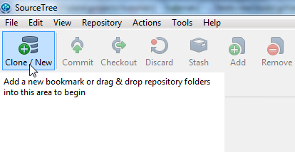 The new repository button in SourceTree.