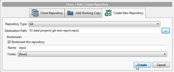 The new repository dialog in SourceTree.