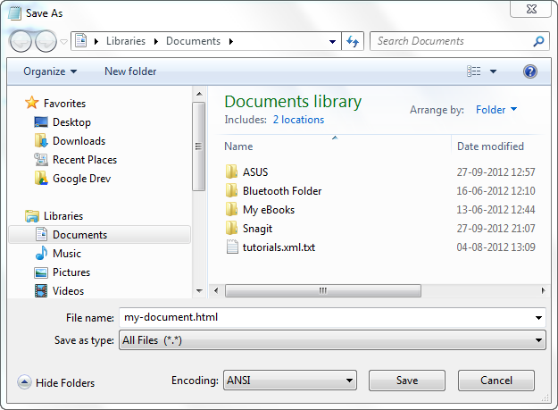 Saving an HTML document from notepad on Windows.