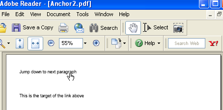 An IText internal Anchor example