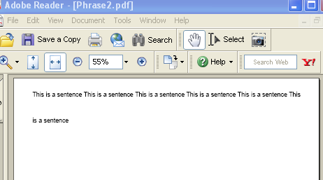 An IText Phrase example with custom line spacing