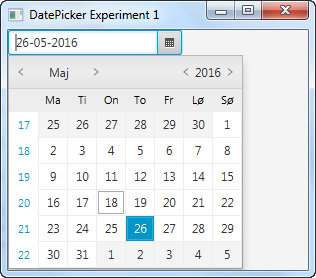 A JavaFX DatePicker displayed in the scene graph of a JavaFX application.