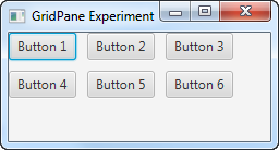 A JavaFX GridPane with horizontal and vertical gaps between components.