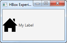 A JavaFX Label component with an image embedded.