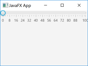 A JavaFX Slider control with tick marks and labels shown.