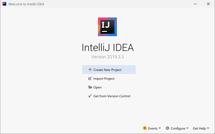 The dialog shown the first time IntelliJ is started up.