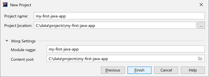 The new project dialog - Choose project name and location.